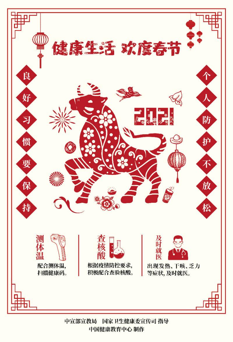 健康生活欢度春节疫情防控海报(剪纸)3