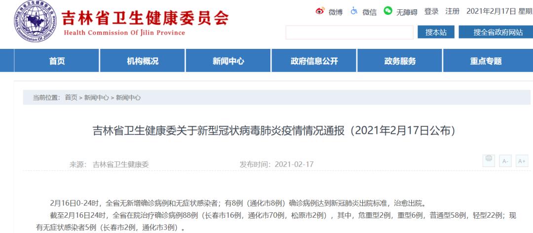 吉林省卫生健康委关于新型冠状病毒肺炎疫情情况通报(2021年2月17日公布)