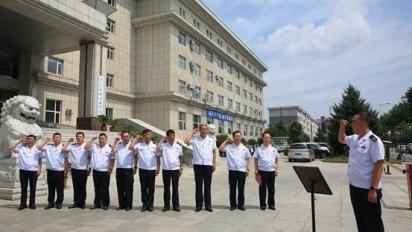 """敦化市税务局开展退役军人""""向国旗宣誓""""活动"""